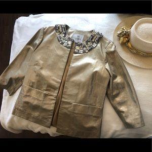 Embellished genuine leather coated gold metallic